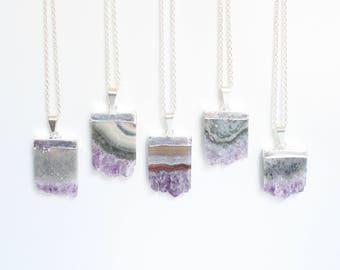 Amethyst Necklace, Stone Necklace, Amethyst Geode, Boho Jewelry, Summer Jewelry Trend, Raw Amethyst, Amethyst Slice, Boho Chic