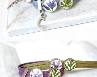Personalized bracelet women gift Personalized jewelry initial jewelry Flower bracelet girl Couples bracelet Blue bracelet Purple bracelet