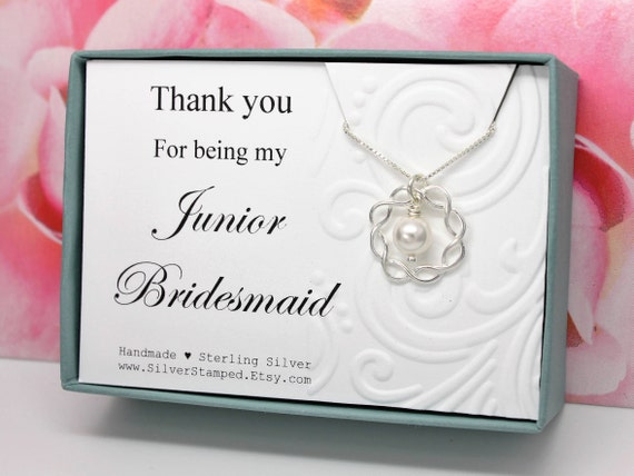 Wedding Gifts For Junior Bridesmaid : Gift for Jr Bridesmaid necklace Sterling silver 925 Swarovski crystal ...