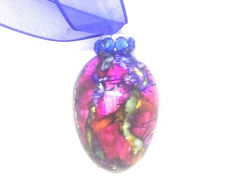 Dark Pink, Blue, Yellow Hand Painted Glass Easter Egg Drip Alcohol Ink Rhinestones