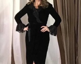 Vintage Victor Costa Black Velvet Dress with Lace Trim
