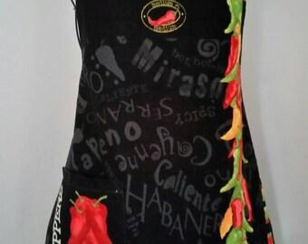 Chili Peppers Handmade Pocket Apron
