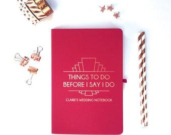 Personalised notebook, Personalised Wedding Notebook, Personalised Bride Notebook, Rose Gold notebook, Personalised engagement present