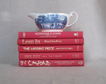 Red Decorative Books Set, Book Collection, Stack of Books, Wedding Centerpiece, Home Staging, Book Bundle