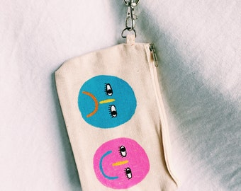 happy sad wristlet wallet // painting, illustration, accessory, fun wallet, custom wallet, wristlet, small wallet, canvas wallet, hand drawn