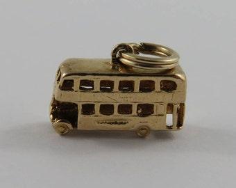 Double Decker Bus 9K Gold Vintage Charm For Bracelet