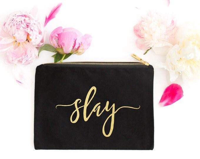 Slay Makeup Bag, Gold Foil Makeup Bag, Black and Gold Makeup Bag, Gold Cosmetic Pouch Bag, Bridesmaid Gift, Gift for Her