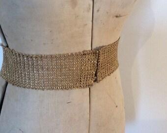1970s Vintage Belt - Vintage Gold Belt - 70s Belt - Wide Belt - Dress Belt - Waist Belt - Vintage Handmade Belt - Vintage Accessories