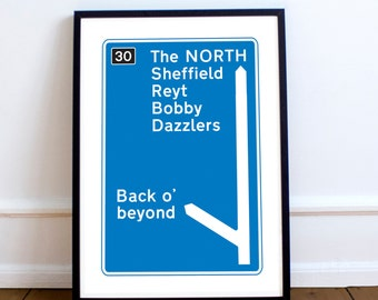 Sheffield / Motorway Sign / Poster / A3 / Print