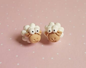 Easter sheep etsy sheep earrings easter earrings sheep studs kids earrings animal earrings lamb negle Images