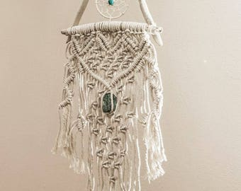 Macrame Dreamcatcher on Driftwood with Brazilian Fuchsite stone