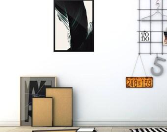 Minimalist Leaf Poster, Modern Living Room Poster, Scandinavian Photo Print, Modern Nature Poster, Modern Leaf Art Print, Minimal Green Art