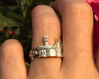 Florence Skyline Gold Silver Ring Cityscape ring Statement Ring Personalized Jewelry gift Custom Ring architectural jewelry skyline ring
