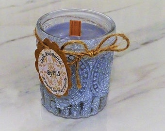 Grey soy candle - wooden wick - Cotton flower fragrance