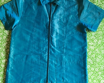 Vintage Iridescent Blue Green 1980s Zip Up Nylon Short Sleeve Shirt Jacket Surf Skate Retro