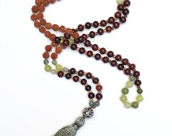 108 Mala Beads, Mala Necklace, Garnet, Tassel Necklace, Meditation Necklace, Serpentine