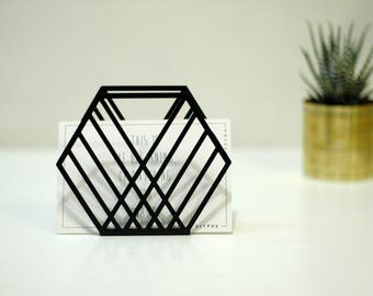 Black napkin holder, office decor gift, modern office decor, geometric decor, magazine holder, organized decor, metal rack, mail holder
