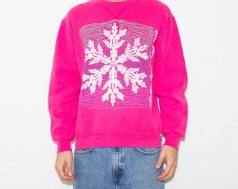 Snowflake, Pink, Kawaii, 90s Vintage, 90s Clothing, Sweatshirt, Winter, 90s, Sportswear, Athletic, Retro, Distressed, Medium, Cute, Pullover