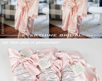 bridesmaids robes set of 4, slumber party robes, blush bridesmaid robe, monogram bridesmaid gift, bachelorette party favor, satin robe,CS01