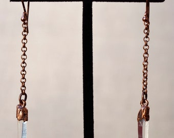 Copper Quartz Crystal and Chain Drop Earrings