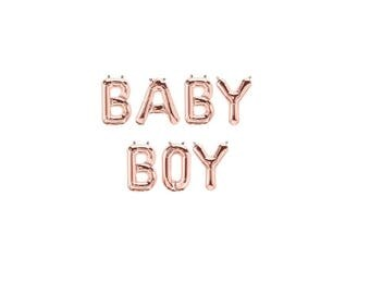 Baby Boy Rose Gold Balloons,Rose Gold Baby Boy Letter Balloons,Oh Boy Shower Theme,Baby Boy Baby Shower,Gender Reveal Balloons