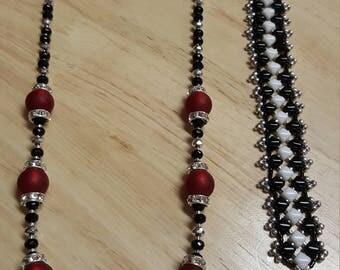 Mardi-gras inspired necklace & bracelet set
