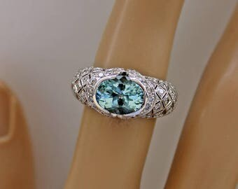 Vintage Aquamarine Ring, Engagement Ring, Aquamarine Diamond Ring,  Art Deco Ring, 18K WG Ring, Diamond Ring, Aquamarine, Appraisal Included