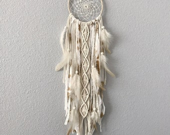 Cream Dream Catcher // Macrame Wall Art Decor, Ivory White, Feathers, Boho Nursery, Neutral Natural Earth Tone, Tie Dye, Rustic Shabby Chic