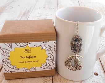 Wolf Tea Infuser, Spirit Animal, Mystical, Magical, Wicca, Totem, Black Mosaic Stone, Tea Lover Gift, Fantasy, Loyalty, Under 10 Dollars