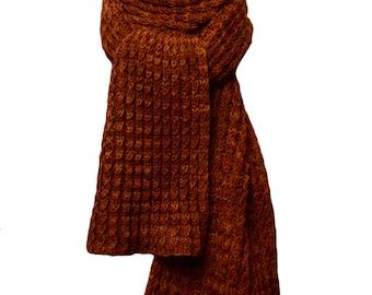 Hand Knit Scarf -Yowza Roasted Pumpkin Wool Cable Rib