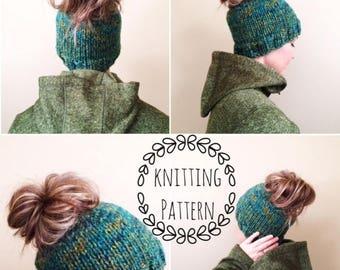 KNITTING PATTERN,Messy Bun Beanie, Pony Tail Beanie, Messy Bun Toque, Pony Tail Toque, Knitting, Knitting Pattern, Beanie, Hat, Knit Hat
