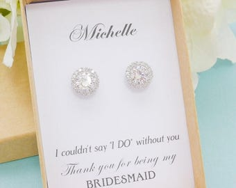 SALE Personalized Bridesmaid Gift, Bridesmaid Jewelry Set, Bridesmaid Round Stud Earrings, Wedding Jewelry, Bridal Earrings, Mother of Bride