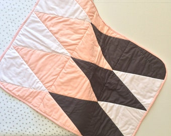 Pink, Gray, and White Quilt, Baby Quilt, Triangle Quilt, Girls Quilt, Handmade Quilt, Contemporary Quilt, Modern Quilt