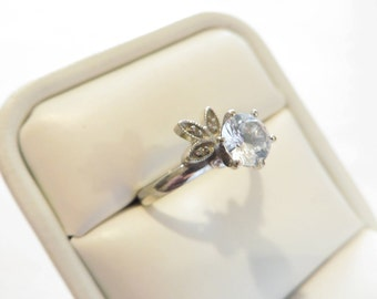 Antique 14k White Gold 1 Ct White Sapphire Engagement Ring