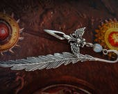 Feather Bookmark - Angel - Wings - White Opal - Dagger - Medieval - Fantasy - Silver - Myths and Legends - Reader - Game of Thones - Books