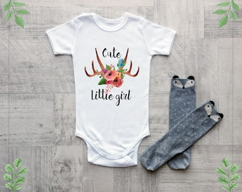 Baby girl clothes, Cute little girl baby clothes, Boho baby clothes, Cute baby bodysuit with antler print, Baby shower gift
