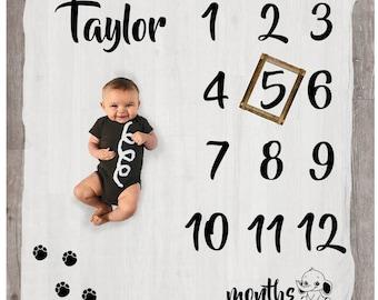 Elephant Milestone Blanket - Age Blanket - Custom Baby Blanket - Baby Month Blanket - Baby Milestone Chart - Growth Blanket