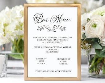 Printable Wedding Bar Menu Bar Menu Sign Wedding Bar Sign Wedding Sign Wedding Bar Menu Printable Drink Menu Instant Download