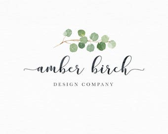 Logo Design, Photography Logo, Premade Logo, Logo For Photography, Business Logo, Watercolor Logo, Branding, Leaf Logo, Calligraphy Logo