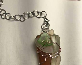 Wire Wrapped  Sea Glass Divination Pendulum Pendant
