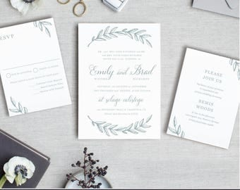 Instantly printable wedding invitation templates by swellandgrand printable template woodland wreath design your own wedding invitations word or pages stopboris Choice Image