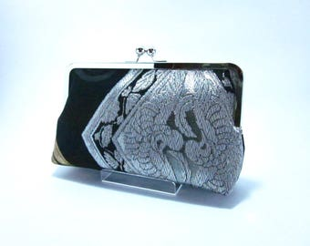 Black with Silver / Obi bag/ Obi Purse / Vintage Kimono obi bag / Hand made/9C