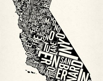 "CALIFORNIA and its 58 Counties — 13x24"" Map Poster — Screen Print"