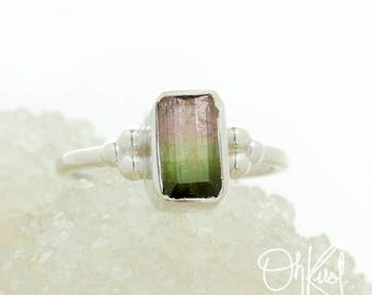 Silver Watermelon Tourmaline Ring - Pink and Green Tourmaline Ring - Comfort Fit