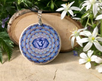 Ajna Chakra polymer clay necklace