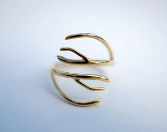 Antler Yellow Gold Roots Ring
