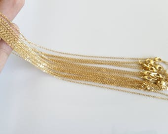10 Gold Necklace Chain, Gold chain, Thin Chain, Delicate Chain, Gold Bulk Chain, Chain Supply, 16K Real Gold Plated, 230's Chain, 1CH-GP-10