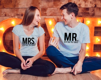 Mr and Mrs Shirts, Couples Shirts, Custom Mr&Mrs Shirt, Bridal Shower Shirts, Bachelorette Party Shirt, Bride and Groom, Mr and Mrs Tees