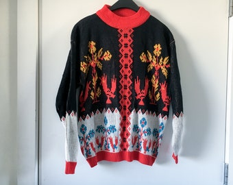 Vintage 1980's Chicken Sweater - Mock Neck - Ugly Sweater