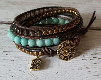 Amazonite, Smokey Quartz & Hematite Wrap Bracelet, Charm Bracelet, Gemstone Jewelry, Boho Chic Jewelry, Yoga Jewelry, x3 Boho Wrap Bracelet
